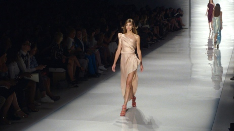 Model on the runway. Still image from The True Cost